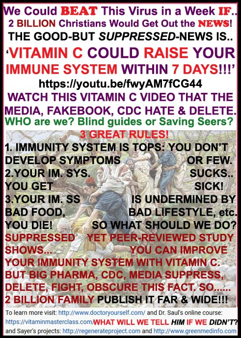 We Could Beat This Virus With Suppressed Vitamin C.. IF 2 Billion Christians Would Spread the News to Everyone & Doctors!